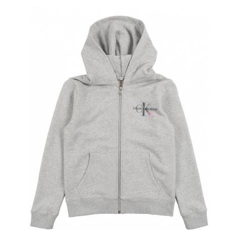 Calvin Klein Tepláková bunda  sivá melírovaná