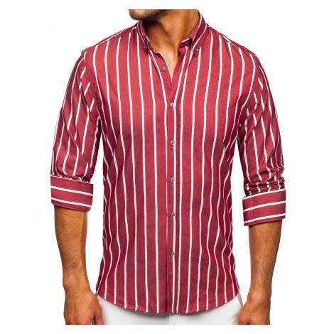 Bordová pánska pruhovaná košeľa s dlhými rukávmi Bolf 20730