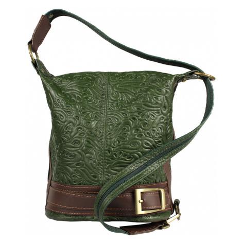Talianská kožená kabelka Adele Stampa Verde Prima