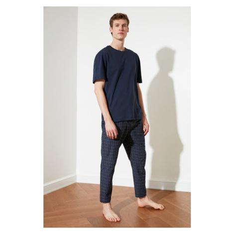 Trendyol Navy Blue Plaid Woven Pyjama Set