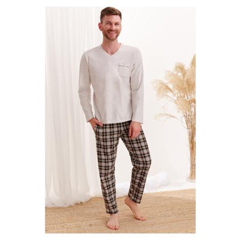 Béžovo-čierne kárované pyžamo Tymon Taro