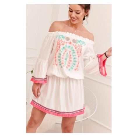 Letné šaty s vyšívaným farebným vzorom na prednej strane, krémové FASARDI