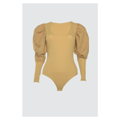 Trendyol Camel Arm Detailed Stud Knitted Body