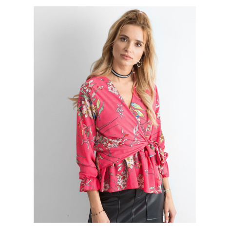 Pink floral blouse with binding