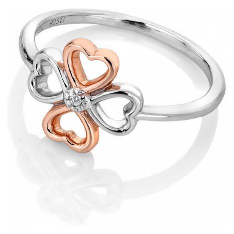 Hot Diamonds Bicolor strieborný čtyřlístkový prsteň s diamantom Lucky in Love DR216 mm