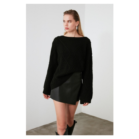 Trendyol Black Mesh Detailed Knitwear Sweater