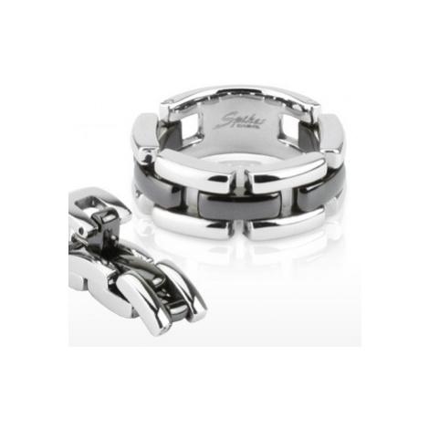 Kombinovaný prsteň čierno-striebornej farby, trojradový - Veľkosť: 48 mm