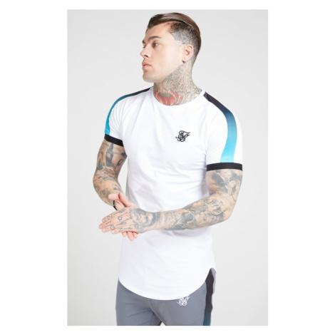 SIK SILK Pánske biele tričko SikSilk S/S Inset Cuff Fade Panel