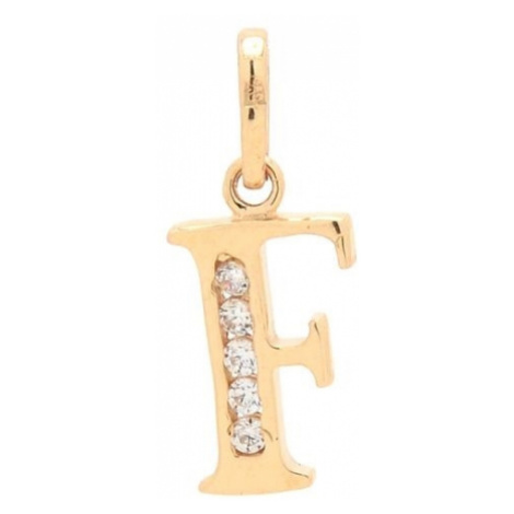 Zlatý prívesok písmenko F so zirkónmi