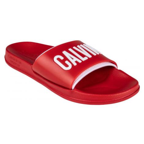 Calvin Klein SLIDE červená - Pánske šľapky