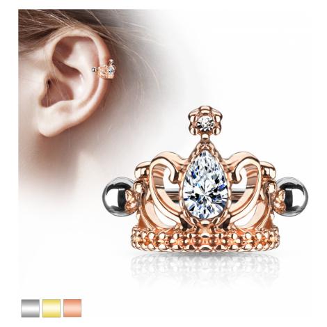 Oceľový piercing do ucha - kráľovská koruna so slzičkou, lesklá činka s guličkami - Farba: Zlatá