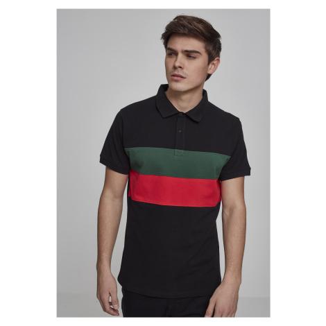 Pánska polokošeľa URBAN CLASSICS Color Block Panel Poloshirt black/green/fire red