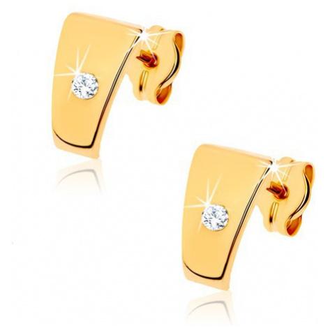 Zlaté briliantové náušnice 585 - lesklé lichobežníky s čírym diamantom v strede