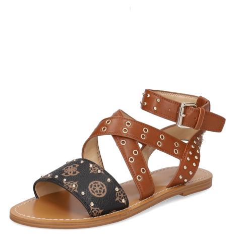 GUESS kombinácia s kožou Sandále hnedá