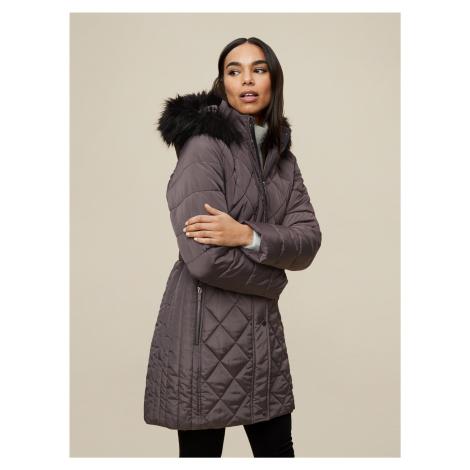 Šedý zimný prešívaný kabát Dorothy Perkins