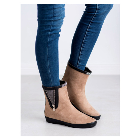 KYLIE SUEDE BOOTS WITH DECORATIVE SLIDER shades of brown and beige