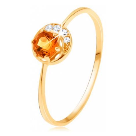 Prsteň zo žltého 14K zlata - úzky kosáčik mesiaca, žltý citrín, zirkóniky čírej farby - Veľkosť: