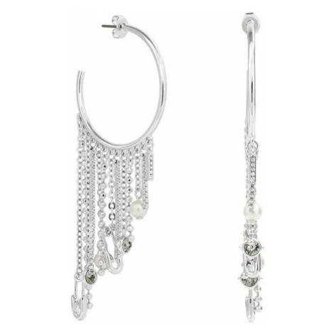 Karl Lagerfeld Luxusné polkruhové náušnice s retiazkami Safety Pin & Pearl Hoop