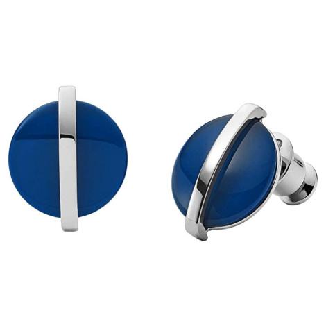 Skagen Oceľové náušnice s modrým sklom SKJ1294040