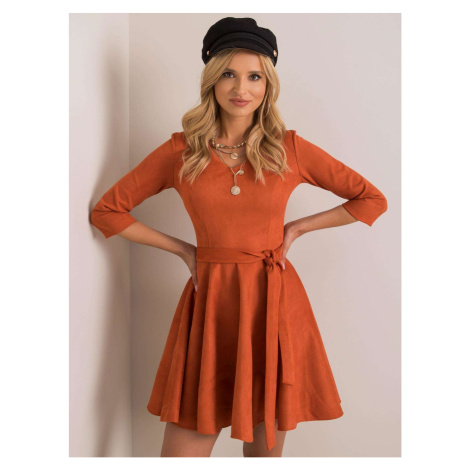 Orange flared dress made of eco suede