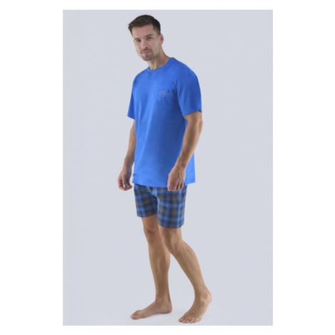 Pánske pyžamo Gina 79072P - barva:GINMxMDCM/modrá-sladké drievko