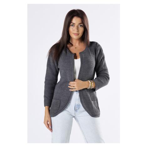 Dámsky krátky šedý sveter s vreckami