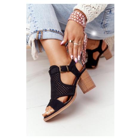 Openwork Sandals On A Block Heel Black Hey Lover