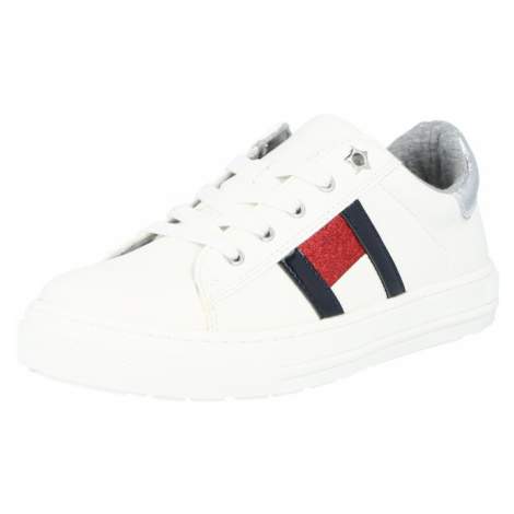 TOMMY HILFIGER Tenisky  biela / ohnivo červená / námornícka modrá / strieborná