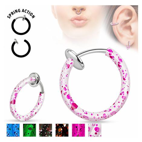 Oceľový fake piercing do nosa alebo do ucha, krúžok pofŕkaný farbou - Farba piercing: Zelená