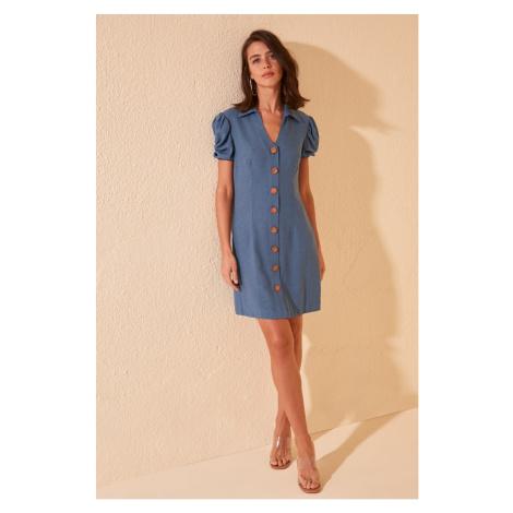 Trendyol Indigo Button Detailed Dress
