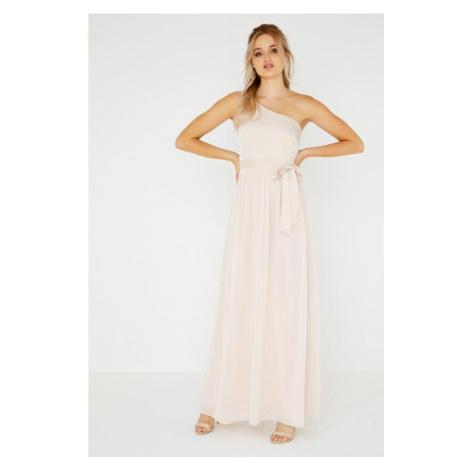 Maxi šaty na jedno rameno s perličkami Little Mistress