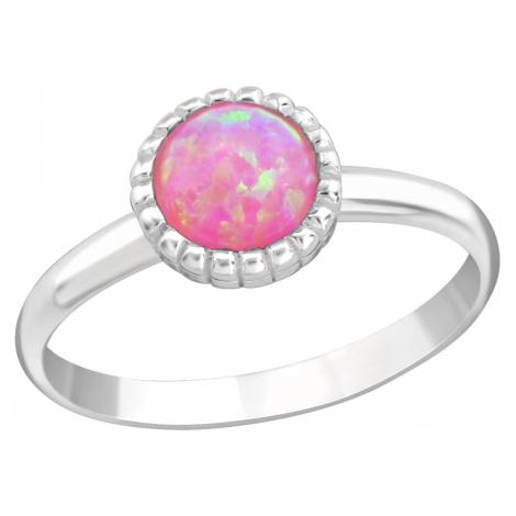 OLIVIE Detský strieborný prsteň RUŽOVÝ OPÁL 4414