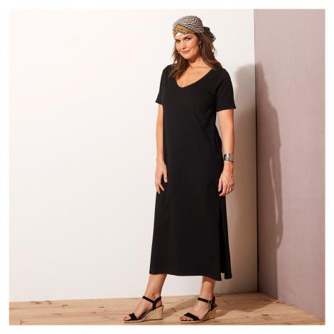 Blancheporte Jednofarebné dlhé šaty čierna