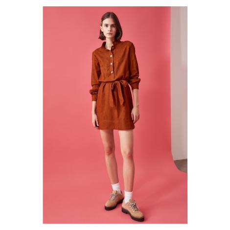 Trendyol Camel BeltEd Velvet Dress