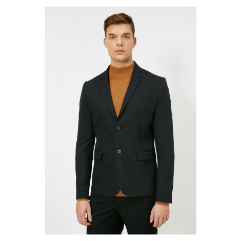 Koton Men's Black Button Detail jacket