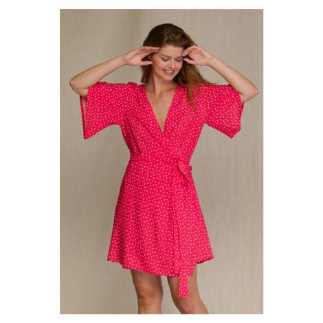 Červené bodkované zavinovacie šaty na doma LHD 946 Key