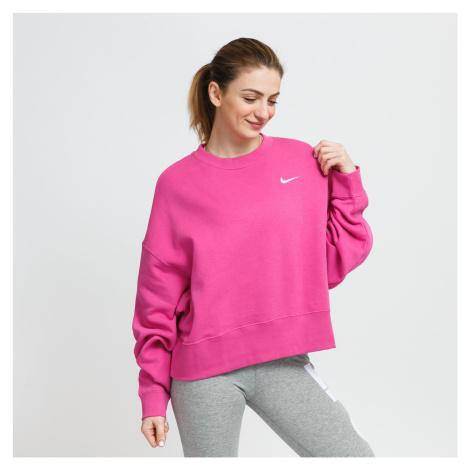 Nike W NSW Crew Fleece Trend tmavoružová
