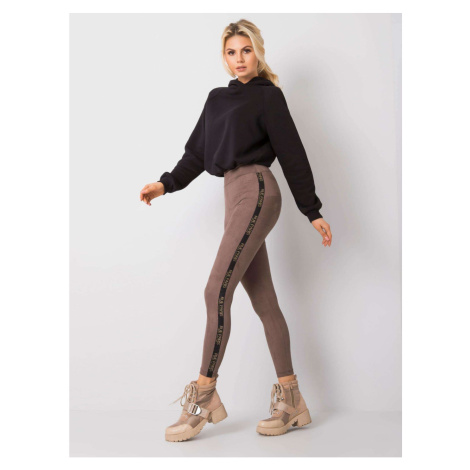 RUE PARIS Dark beige leggings in eco suede