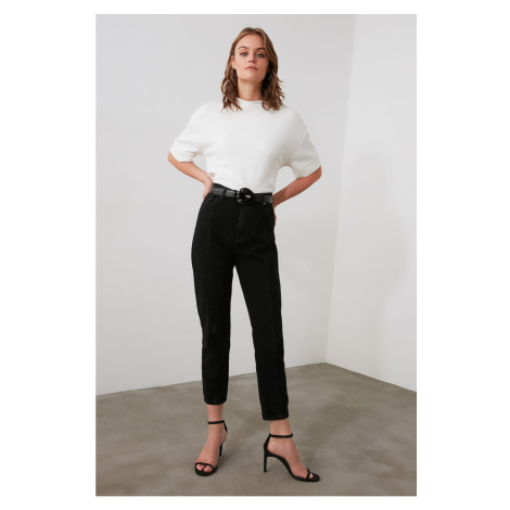 Trendyol High Waist Mom Jeans WITH Black Stitch DetailING