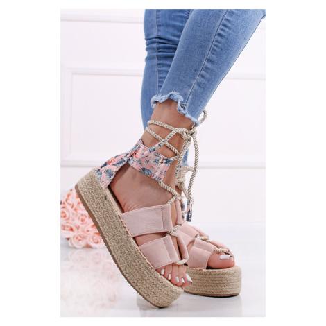 Ružové platformové šnurovacie sandále Clea Bestelle