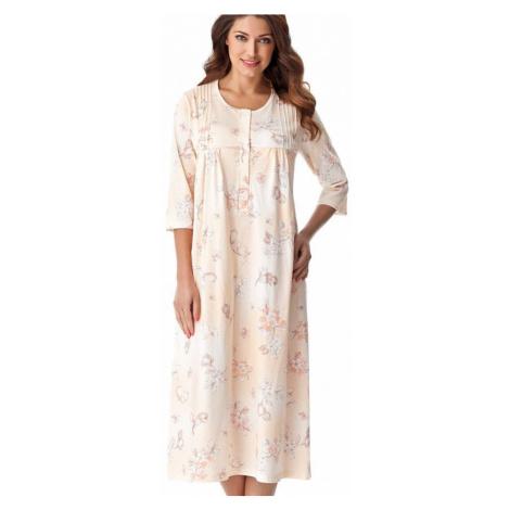 Dlhá bavlnená nočná košeľa s gombíkmi Lea lososová Dorota