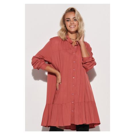 Tehlové košeľové šaty s dlhým rukávom M576 Makadamia