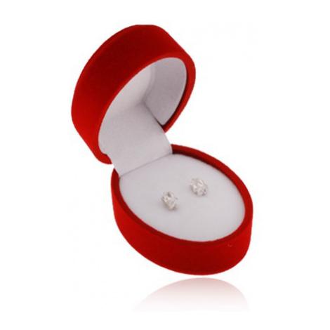 Červená oválna krabička na náušnice alebo dva prstene, zamatový povrch