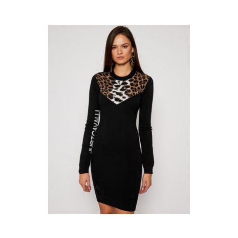 Just Cavalli Úpletové šaty S04CT1108 Čierna Slim Fit