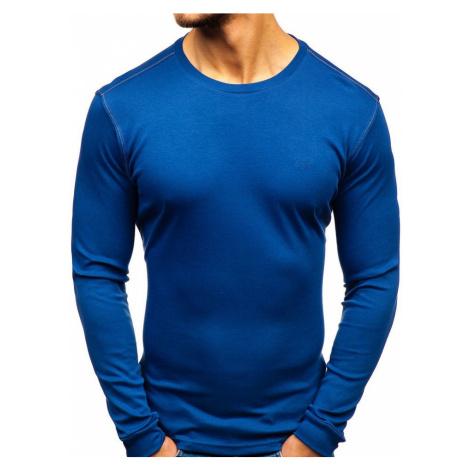 Indigo pánske tričko s dlhými rukávmi bez potlače Bolf 145359
