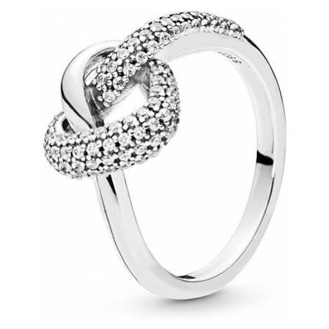 Pandora Strieborný prsteň Prepletené srdce 198086CZ mm