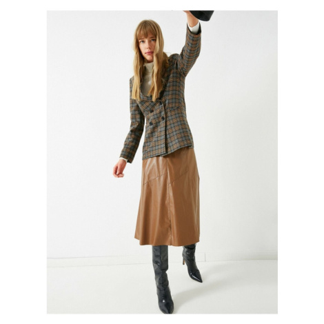 Koton Leather Look Midi Skirt