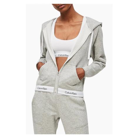 Calvin Klein sivá dámska mikina Top Hoddie Full Zip