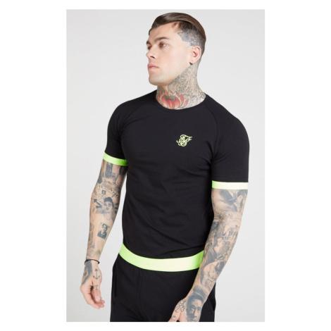 SIK SILK Pánske čierne tričko SikSilk S/S Neon Tech