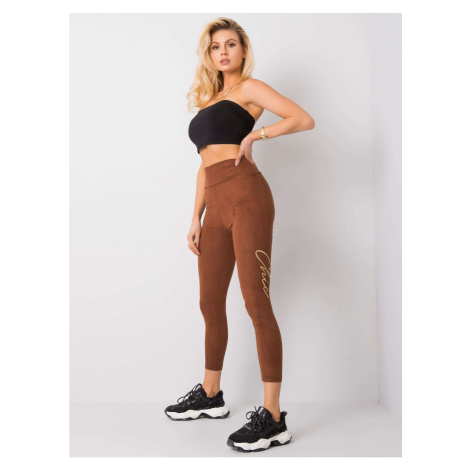 RUE PARIS Brown leggings made of eco suede